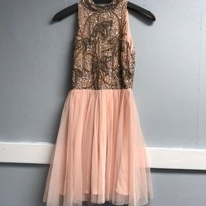 Dresses & Skirts - Beaded blush halter dress